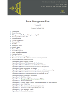 Event Management Plan - Timber festival